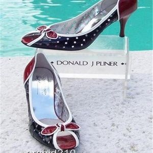 Donald J. Pliner Shoes - Couture Perforated Patent Leather Pump Shoe Peep T